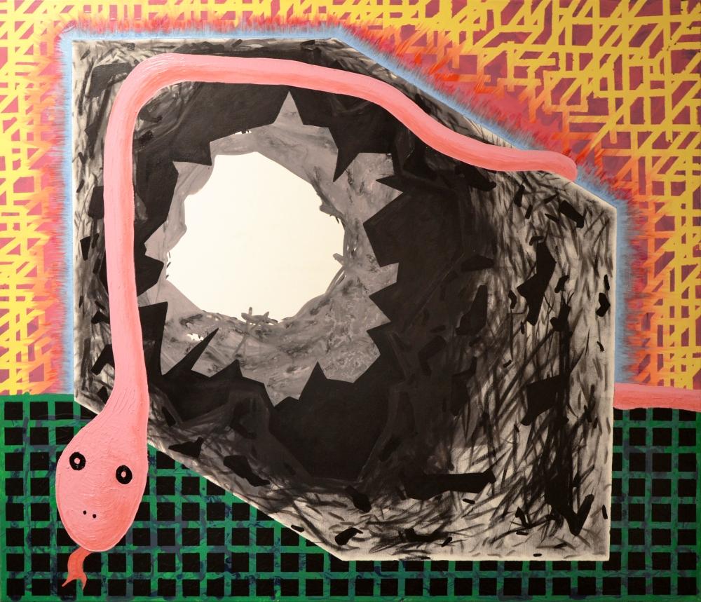 Big Bang Box and a Toy Snake -acrilic, carbune si ulei pe panza, 100x120 cm, 2018.